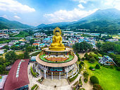 Aerial view of Hongbeopsa Temple, Busan, South Korea, Asia