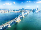 Aeril View of Sunny Summer Gwangandaegyo Bridge, Busan, South Korea, Asia