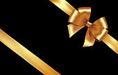 Shiny golden satin ribbon. Vector gold bow for design discount card