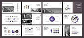 This template is the best as a business presentation, used in marketing and advertising, flyer and banner, the annual report. Elements on a dark grey background