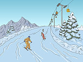People skiing at the mountains graphic color landscape sketch illustration vector