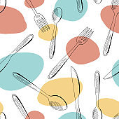 Fork spoon knife graphic color seamless pattern background sketch illustration vector