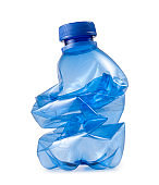 Crushed plastic bottle. Photo with clipping path.