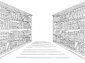 Library shelf graphic black white interior sketch illustration vector