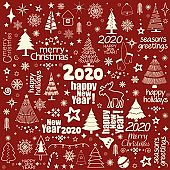 Christmas greeting pattern with holiday inscriptions