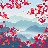 Autumn Landscape with Foggy Mountains and Japanese Maple Leaves