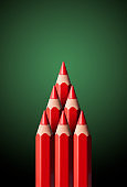 Christmas tree made from red pencils