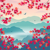 Autumn Landscape with Mountains and Korean Pine Branches.