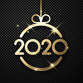 Happy New Year 2020 card with gold abstract Christmas ball on transparent backdrop.