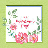 Valentine's Day greeting card.  Watercolor illustration.