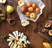Appetizers table wine snacks top view flat lay