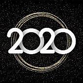 Black and gold shiny 2020 New Year background.
