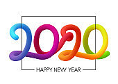 2020 Happy New Year colorful gradient 3d lettering.