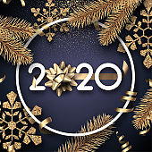 Happy New Year 2020 card with gold fir branches, snowflakes and satin bow.