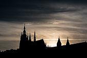 Cityscape silhouette from Prague, Czech Republic