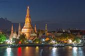 Wat Arun river front at twilight