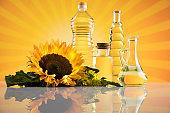 Sunflower oil, Cooking oils, bottles  background