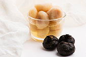 Peeled water chestnuts, tasty ingredients for a Chinese meal
