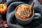 Pumpkin latte with spices. Boozy cocktail with whipped cream. Grey knitted background. Top view.