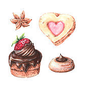 Watercolor cupcakes set with different type of cupcakes: strawberry, blueberry, chocolate. citrus, raspberry. Isolated