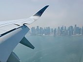 A view from inside commercial plane passenger cabin window in the mid air