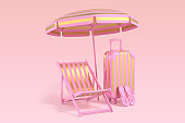 Luxury stripe gold chairs, travel suitcase, slap and umbrella on pastel pink background. Summer with love. 3d rendering illustration