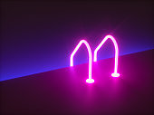 3d render, Grab bars ladder in the blue swimming pool. abstract background, glowing furniture, neon light, virtual reality, pink blue spectrum, vibrant colors, floor reflection