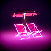 3d render, Luxury stripe neon chairs and umbrella on dark background. abstract background, glowing furniture, neon light, virtual reality, pink blue spectrum, vibrant colors, floor reflection