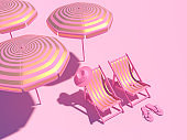 Luxury stripe gold chairs and umbrella on pastel pink background. Summer with love. 3d illustration