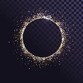 Frame of golden sparkling dust
