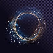 Wavy round frame with sparks