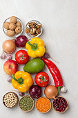 A set of vegetables for a healthy diet, yellow and red peppers,