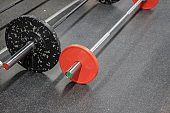 Sports background. Barbells in the gym