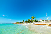 Turquoise water in Grapes Clairs beach in Guadeloupe