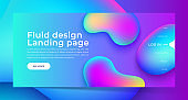 Landing page with Trendy colorful liquid gradients. Fluid colorful shapes. Modern artwork  shapes from acrylic epoxy. Vector