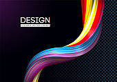 Creative modern colorful flow. Liquid 3d twisted shape for your design concept. Isolated on black background. Vector illustration, Eps10