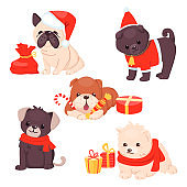Christmas Puppy set with beautiful cute dogs. Different breeds of happy sitting pets with gifts and wearing scarfs and hats. Vector illustration. Cartoon style.