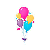 Bunch of colorful balloons. Celebrative funny design with hearts isolated on the white background. Vector illustration, cartoon style.