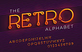 Thin stylized italic retro alphabet and font with a loops.