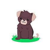 Cute sitting puppy. Pretty brown dog. Vector cartoon illustration for kids.