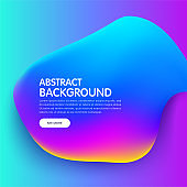 Banner with Trendy colorful liquid gradients. Fluid colorful bubble. Modern artwork shapes from acrylic epoxy. Vector