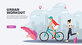 Urban workout and outdoor activity concept. Landing page design for cycling, running training. Modern Vector illustration for websites