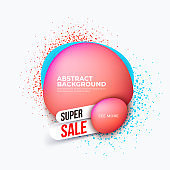 Abstract modern dynamical liquid bubble banners with spray splash. Trendy template for super sale and discount. Vector illustration
