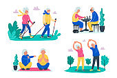 Senior activities concept. Old people walking, playing chess, do exercises on the fresh air in forest and do yoga with happy faces. Sporty lifestyle in a retirement for pensioners. Vector illustration, flat cartoon style.