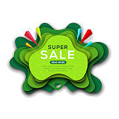 Banner template for special offers, sale, business and discounts in origami paper art style.