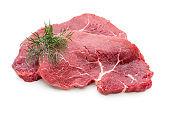Fresh raw beef steak isolated on white.