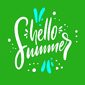 Hello summer hand drawn vector lettering. Isolated on green background.