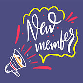 Welcome New Member. Hand drawn vector lettering. Isolated on blue background.