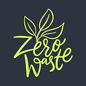 Zero waste hand drawn vector lettering logo. Isolated on black background.