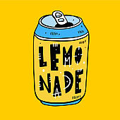 Lemonade in a tin hand drawn vector illustration and lettering. Cartoon style. Isolated on yellow background.